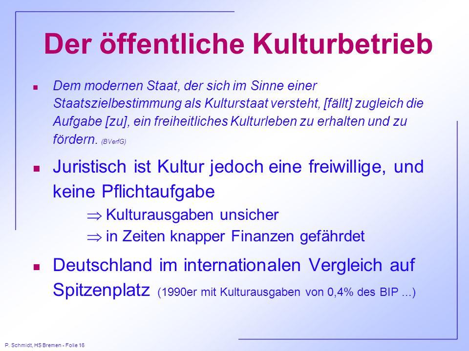 P. Schmidt, HS Bremen - Folie 16 Der öffentliche Kulturbetrieb n Dem modernen Staat, der sich im Sinne einer Staatszielbestimmung als Kulturstaat vers