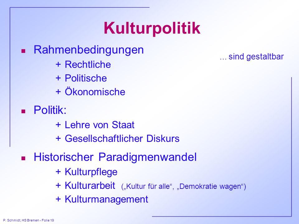 P. Schmidt, HS Bremen - Folie 19 Kulturpolitik n Rahmenbedingungen +Rechtliche +Politische +Ökonomische n Politik: +Lehre von Staat +Gesellschaftliche