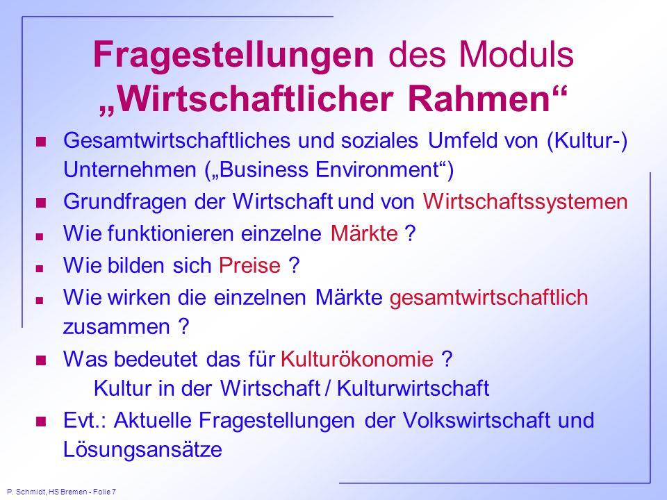 P. Schmidt, HS Bremen - Folie 7 Fragestellungen des Moduls Wirtschaftlicher Rahmen n Gesamtwirtschaftliches und soziales Umfeld von (Kultur-) Unterneh