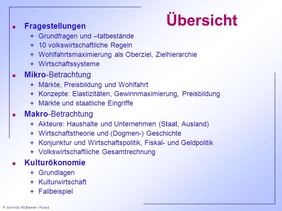 P. Schmidt, HS Bremen - Folie 8 Übersicht n Fragestellungen +Grundfragen und –tatbestände +10 volkswirtschaftliche Regeln +Wohlfahrtsmaximierung als O