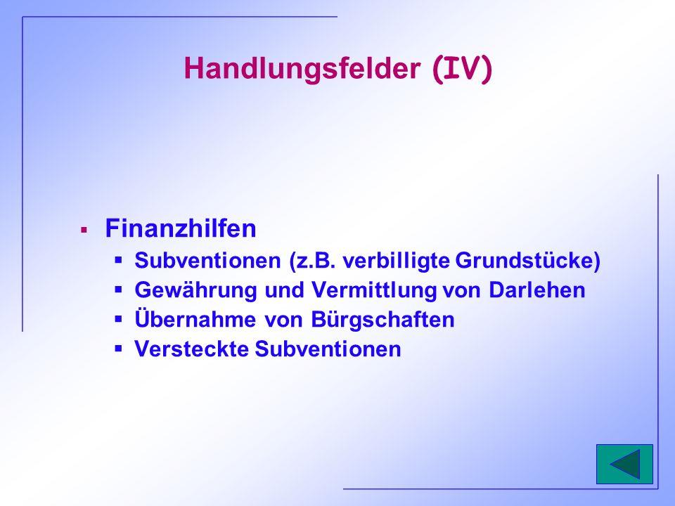 Handlungsfelder (IV) Finanzhilfen Subventionen (z.B. verbilligte Grundstücke) Gewährung und Vermittlung von Darlehen Übernahme von Bürgschaften Verste