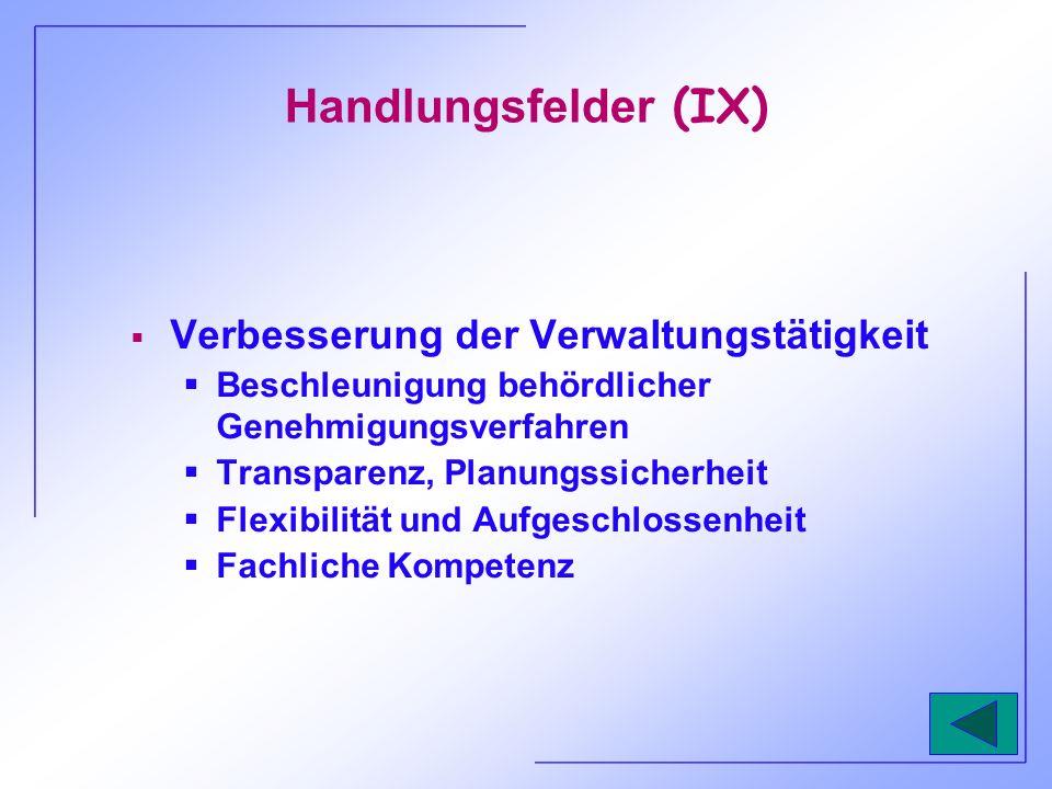 Handlungsfelder (IX) Verbesserung der Verwaltungstätigkeit Beschleunigung behördlicher Genehmigungsverfahren Transparenz, Planungssicherheit Flexibili