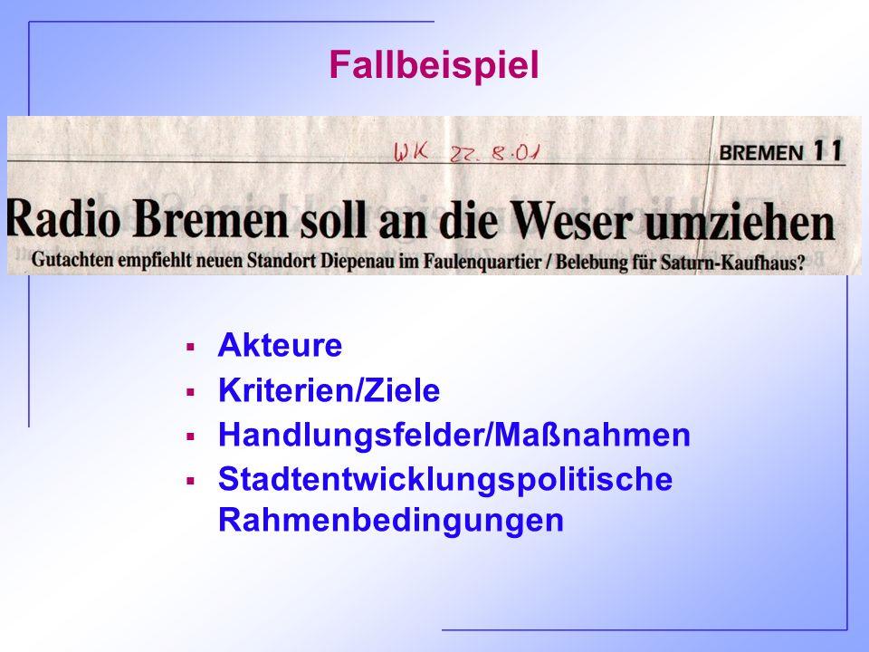 Fallbeispiel Radio Bremen - Ergebnisse AkteureZiele/KriterienHandlungsfelder