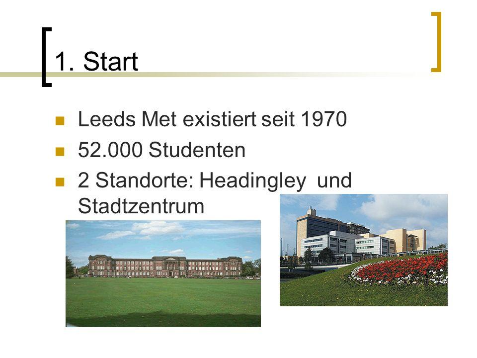 1. Start Leeds Met existiert seit 1970 52.000 Studenten 2 Standorte: Headingley und Stadtzentrum