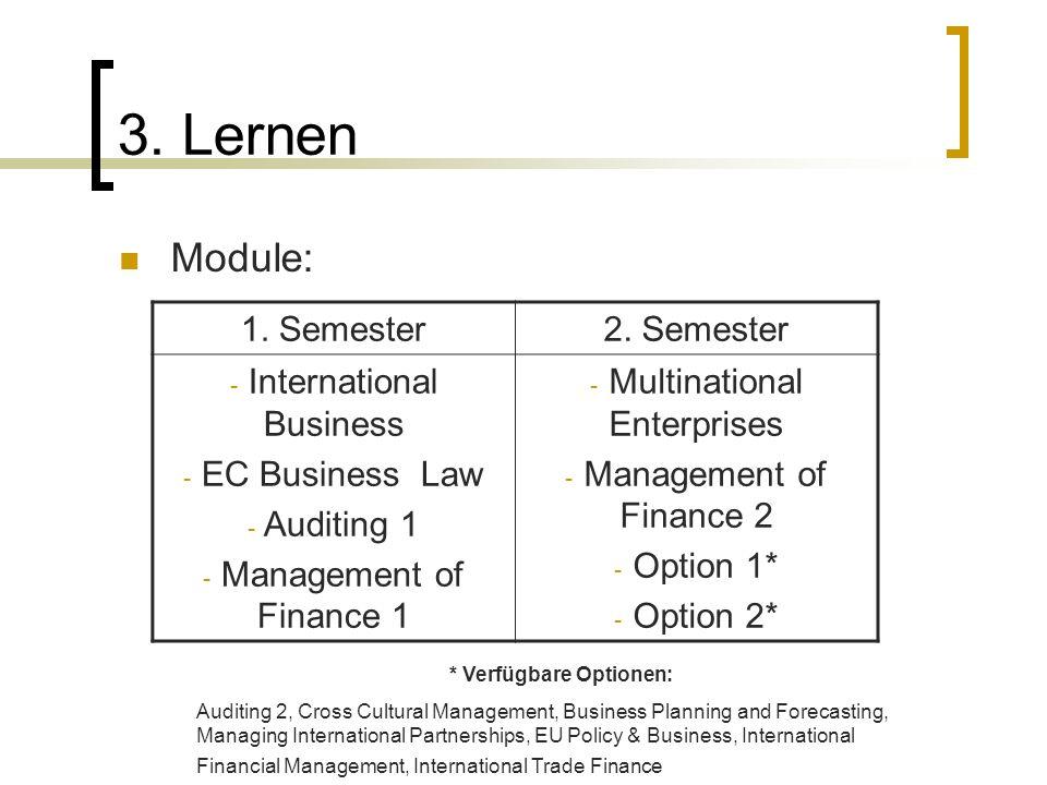 3. Lernen Module: 1. Semester2.