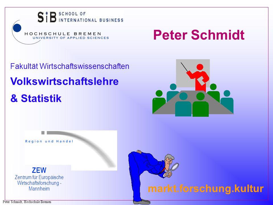Peter Schmidt, Hochschule Bremen markt.forschung.kultur Fakultät Wirtschaftswissenschaften Volkswirtschaftslehre & Statistik ZEW Zentrum für Europäisc