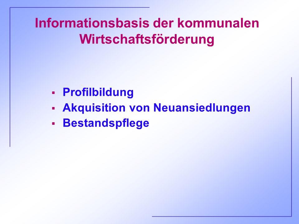 Informationsbasis der kommunalen Wirtschaftsförderung Profilbildung Akquisition von Neuansiedlungen Bestandspflege