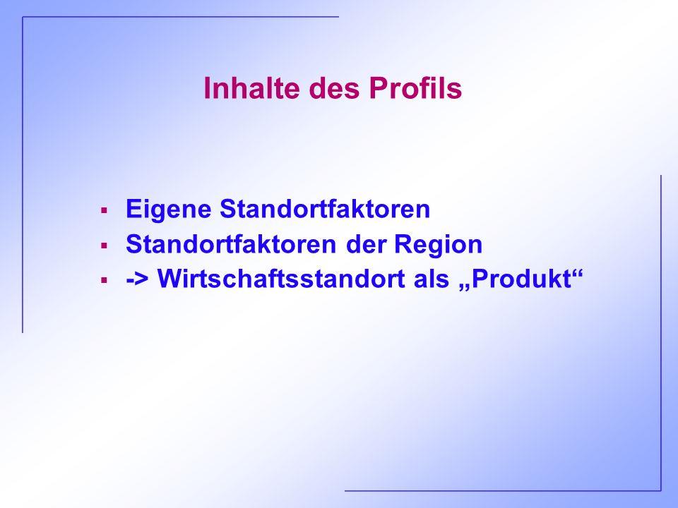 Inhalte des Profils Eigene Standortfaktoren Standortfaktoren der Region -> Wirtschaftsstandort als Produkt