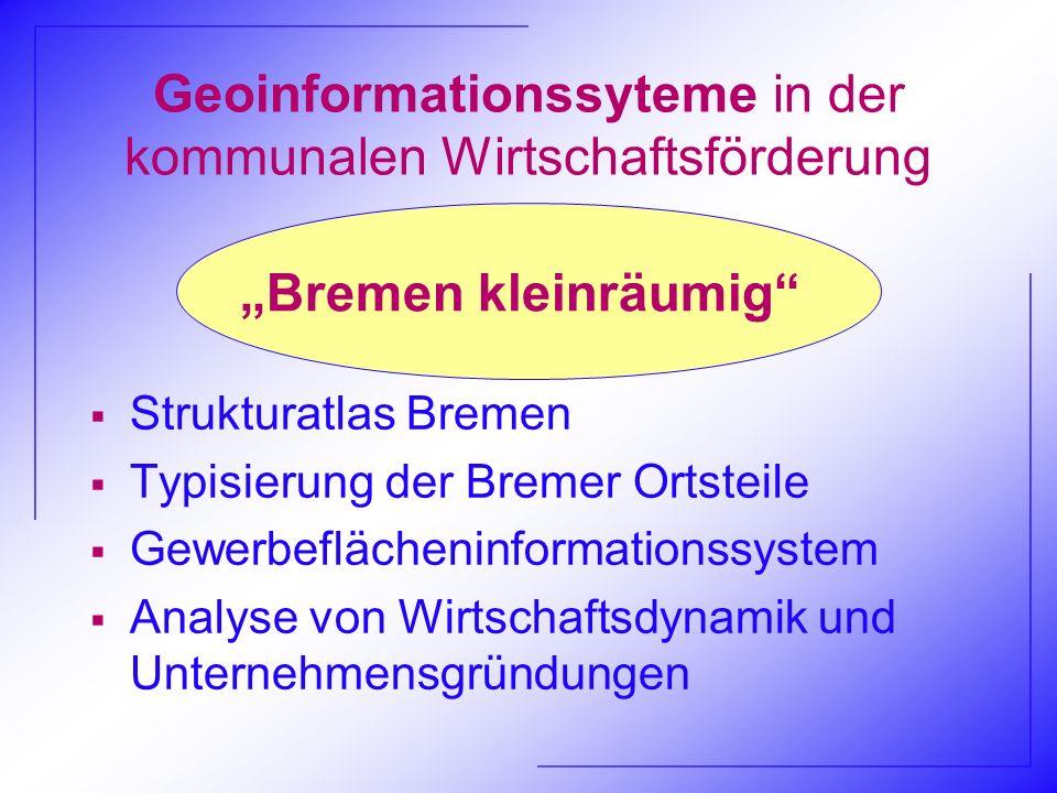 Geoinformationssyteme in der kommunalen Wirtschaftsförderung Strukturatlas Bremen Typisierung der Bremer Ortsteile Gewerbeflächeninformationssystem An