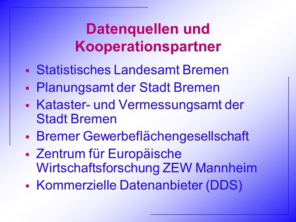 Datenquellen und Kooperationspartner Statistisches Landesamt Bremen Planungsamt der Stadt Bremen Kataster- und Vermessungsamt der Stadt Bremen Bremer