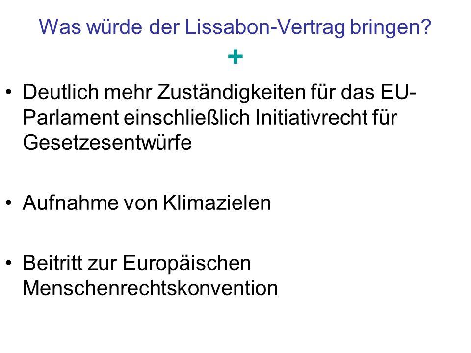Was würde der Lissabon-Vertrag bringen? + Deutlich mehr Zuständigkeiten für das EU- Parlament einschließlich Initiativrecht für Gesetzesentwürfe Aufna