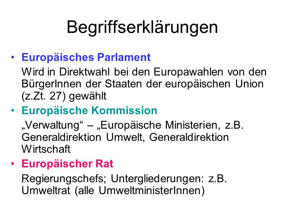 Begriffserklärungen Europäisches Parlament Wird in Direktwahl bei den Europawahlen von den BürgerInnen der Staaten der europäischen Union (z.Zt. 27) g