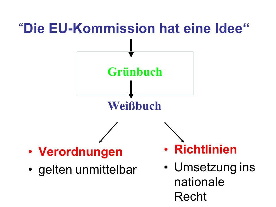 Die EU-Kommission hat eine Idee Verordnungen gelten unmittelbar Richtlinien Umsetzung ins nationale Recht Grünbuch Weißbuch