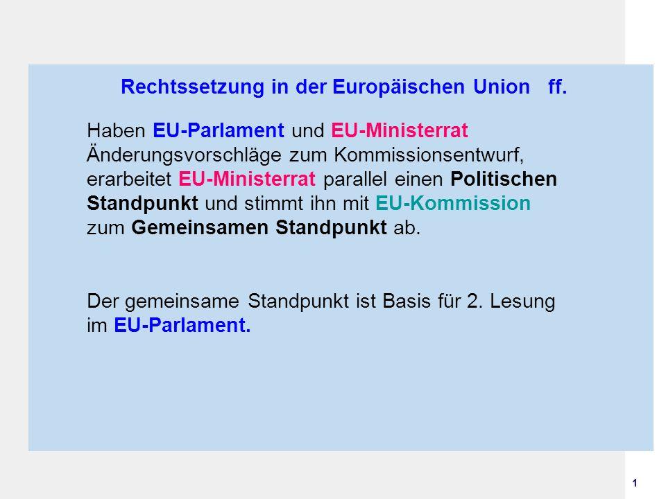 1 Rechtssetzung in der Europäischen Union ff. Haben EU-Parlament und EU-Ministerrat Änderungsvorschläge zum Kommissionsentwurf, erarbeitet EU-Minister