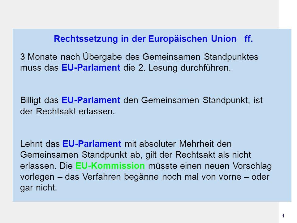 1 Rechtssetzung in der Europäischen Union ff. 3 Monate nach Übergabe des Gemeinsamen Standpunktes muss das EU-Parlament die 2. Lesung durchführen. Bil