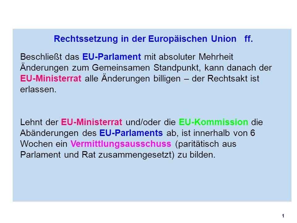 1 Rechtssetzung in der Europäischen Union ff. Beschließt das EU-Parlament mit absoluter Mehrheit Änderungen zum Gemeinsamen Standpunkt, kann danach de