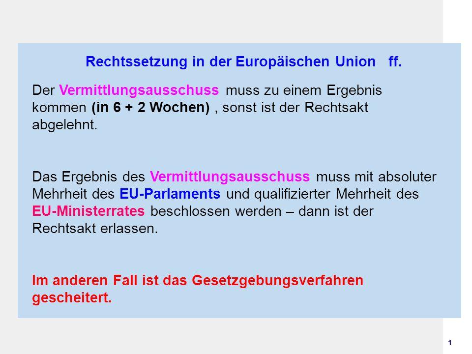 1 Rechtssetzung in der Europäischen Union ff. Der Vermittlungsausschuss muss zu einem Ergebnis kommen (in 6 + 2 Wochen), sonst ist der Rechtsakt abgel