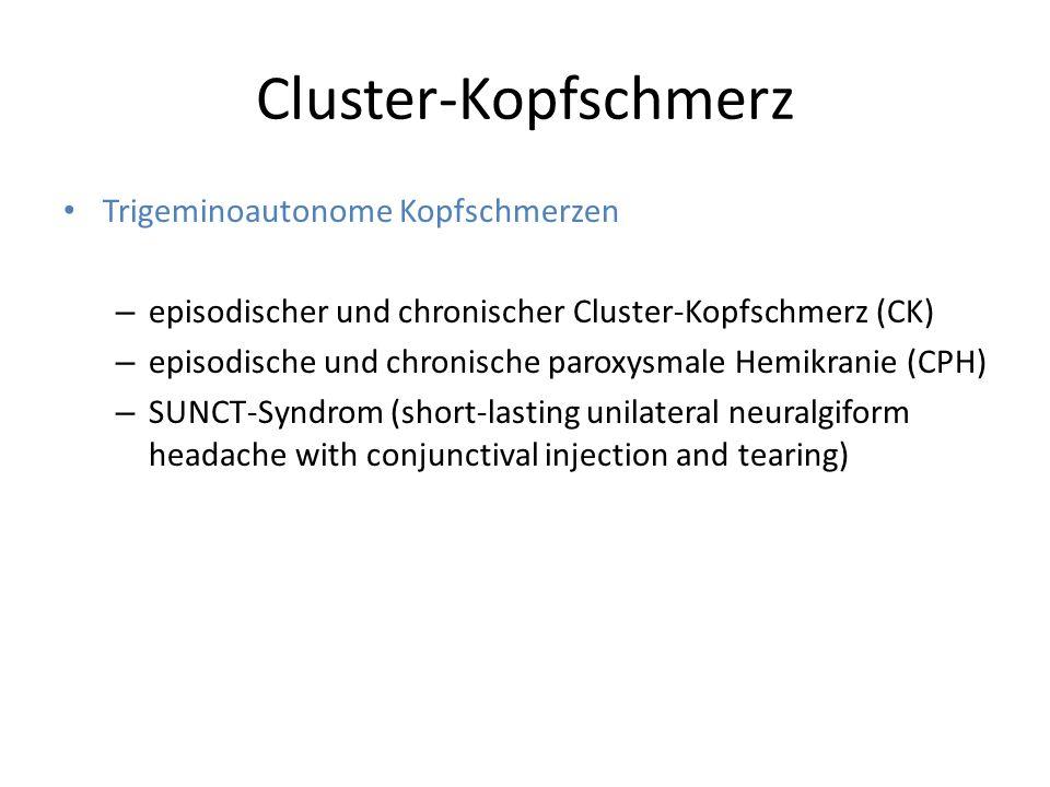 Cluster-Kopfschmerz Trigeminoautonome Kopfschmerzen – episodischer und chronischer Cluster-Kopfschmerz (CK) – episodische und chronische paroxysmale H