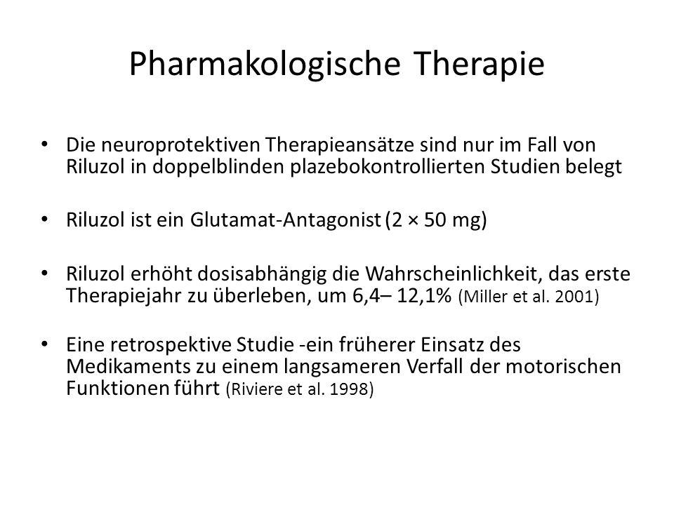 Pharmakologische Therapie Die neuroprotektiven Therapieansätze sind nur im Fall von Riluzol in doppelblinden plazebokontrollierten Studien belegt Riluzol ist ein Glutamat-Antagonist (2 × 50 mg) Riluzol erhöht dosisabhängig die Wahrscheinlichkeit, das erste Therapiejahr zu überleben, um 6,4– 12,1% (Miller et al.