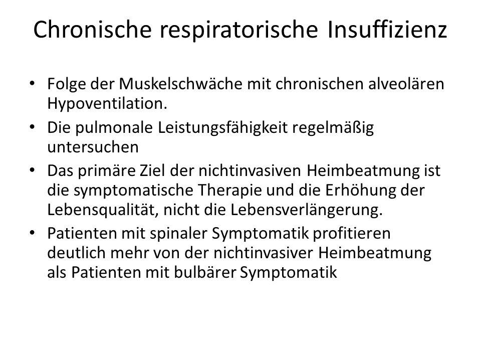 Chronische respiratorische Insuffizienz Folge der Muskelschwäche mit chronischen alveolären Hypoventilation.