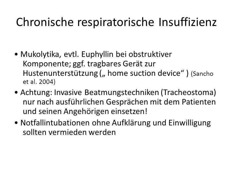 Chronische respiratorische Insuffizienz Mukolytika, evtl.