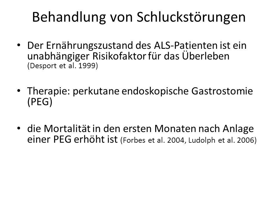 Behandlung von Schluckstörungen Der Ernährungszustand des ALS-Patienten ist ein unabhängiger Risikofaktor für das Überleben (Desport et al.