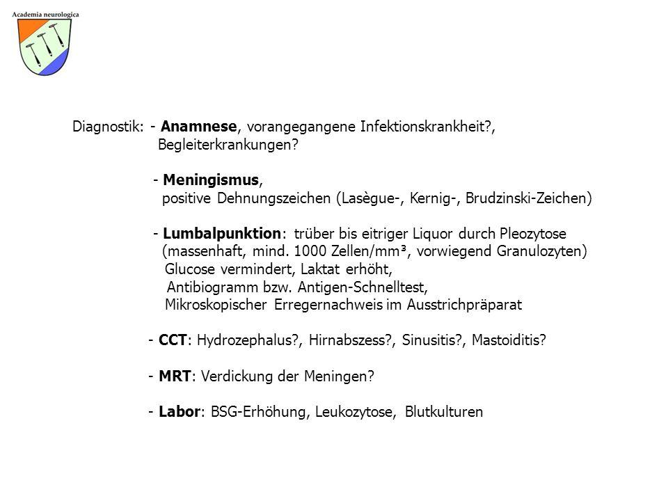Diagnostik: - Anamnese, vorangegangene Infektionskrankheit?, Begleiterkrankungen? - Meningismus, positive Dehnungszeichen (Lasègue-, Kernig-, Brudzins