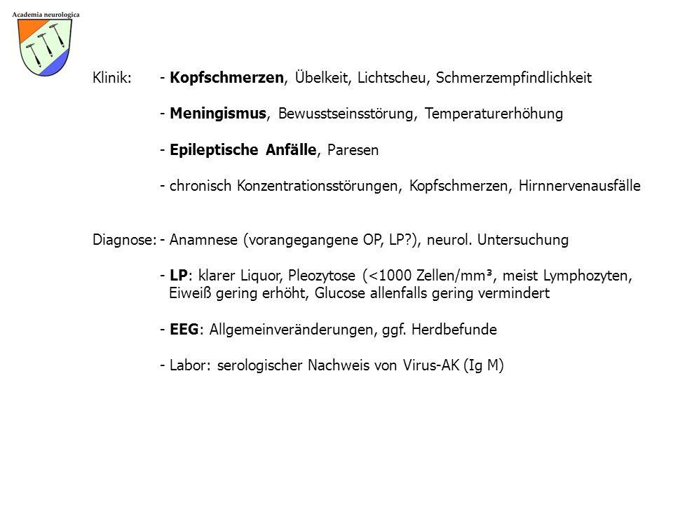 Klinik:- Kopfschmerzen, Übelkeit, Lichtscheu, Schmerzempfindlichkeit - Meningismus, Bewusstseinsstörung, Temperaturerhöhung - Epileptische Anfälle, Pa