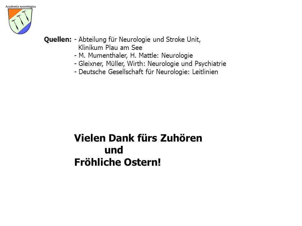 Quellen:- Abteilung für Neurologie und Stroke Unit, Klinikum Plau am See - M. Mumenthaler, H. Mattle: Neurologie - Gleixner, Müller, Wirth: Neurologie