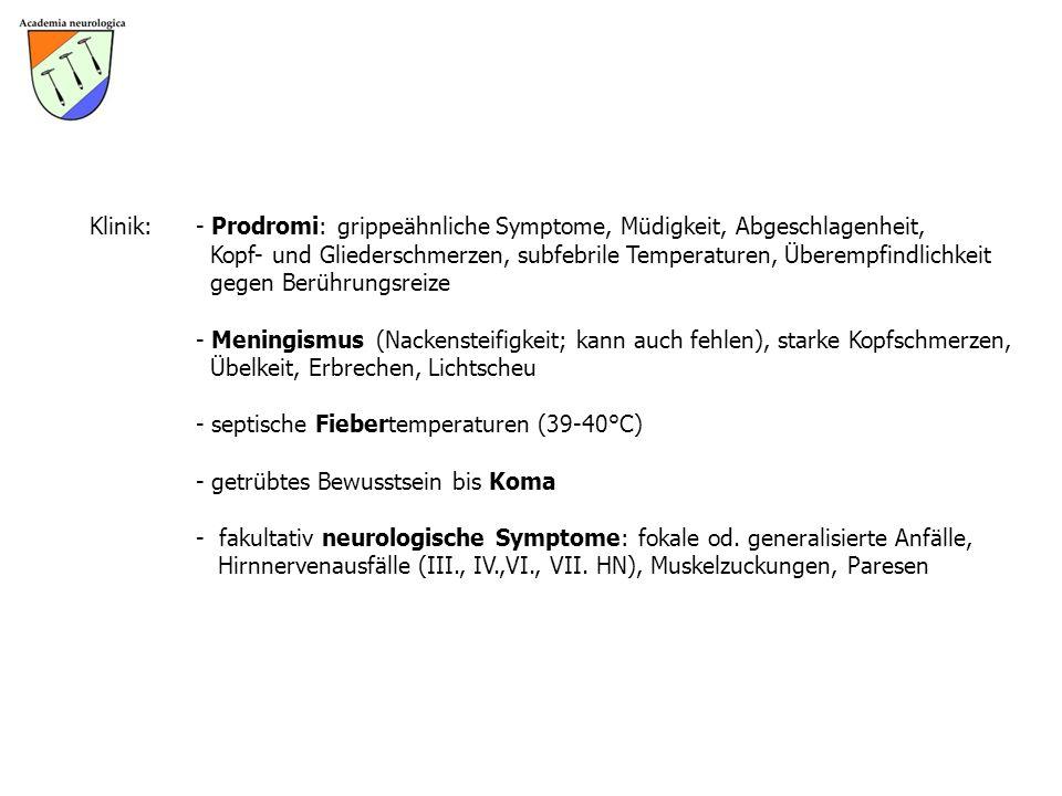 Klinik:- Prodromi: grippeähnliche Symptome, Müdigkeit, Abgeschlagenheit, Kopf- und Gliederschmerzen, subfebrile Temperaturen, Überempfindlichkeit gege