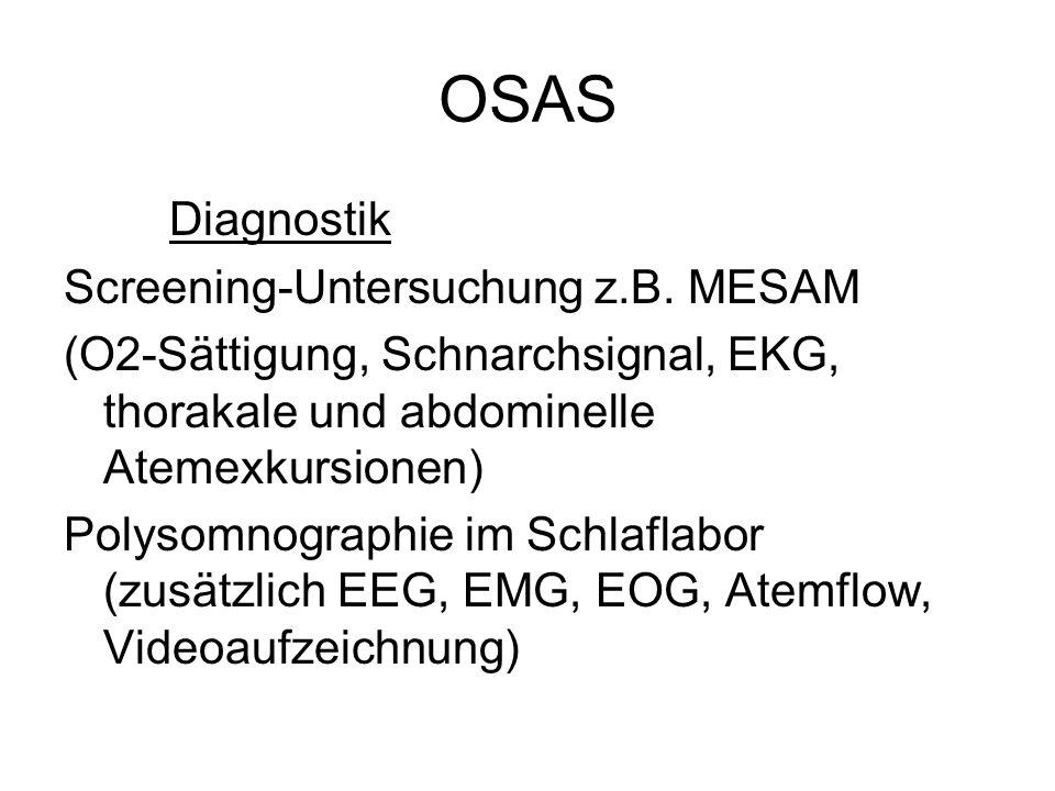 OSAS Diagnostik Screening-Untersuchung z.B. MESAM (O2-Sättigung, Schnarchsignal, EKG, thorakale und abdominelle Atemexkursionen) Polysomnographie im S