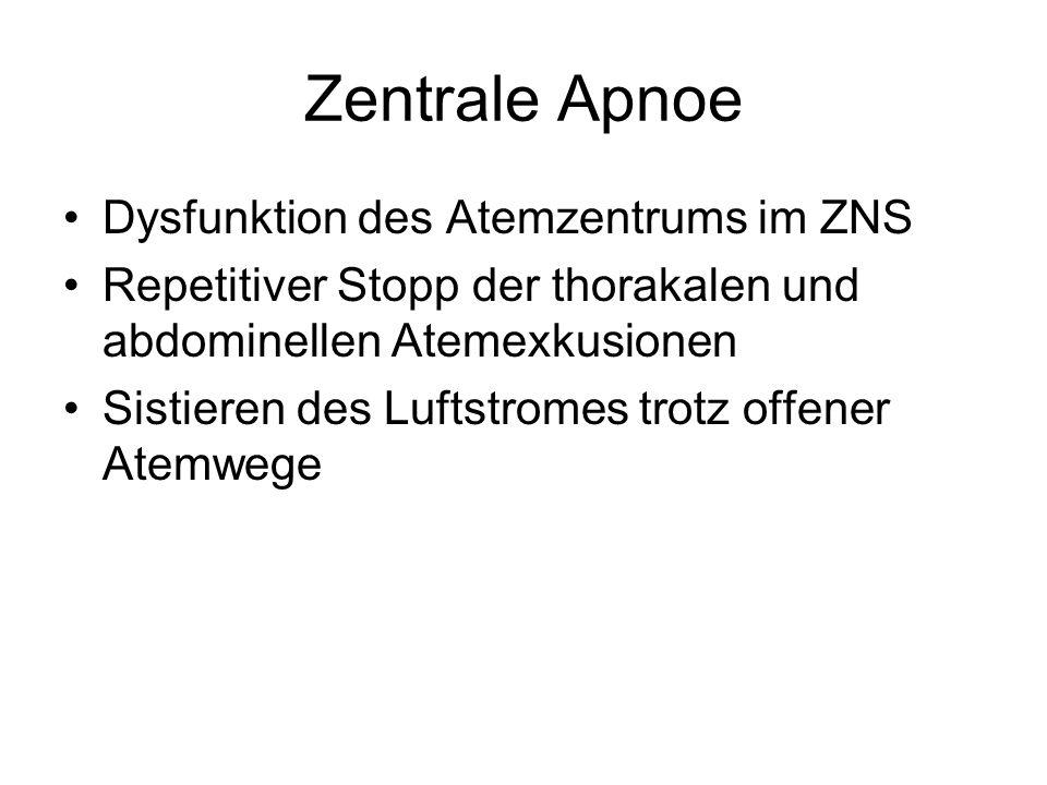 Zentrale Apnoe Dysfunktion des Atemzentrums im ZNS Repetitiver Stopp der thorakalen und abdominellen Atemexkusionen Sistieren des Luftstromes trotz of