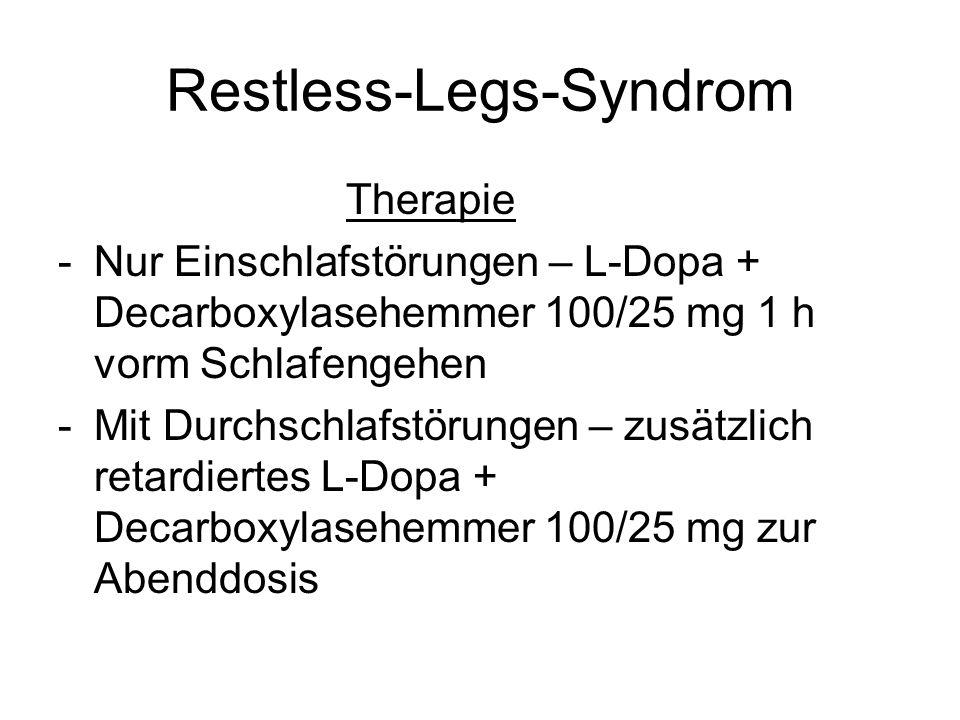 Restless-Legs-Syndrom Therapie -Nur Einschlafstörungen – L-Dopa + Decarboxylasehemmer 100/25 mg 1 h vorm Schlafengehen -Mit Durchschlafstörungen – zus