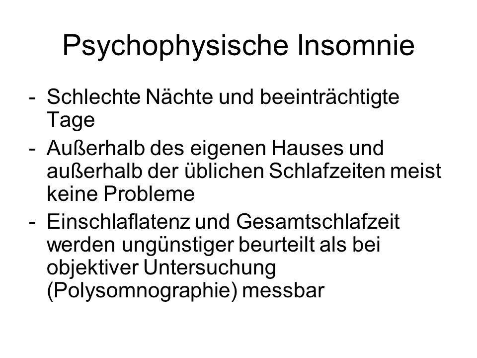 Psychophysische Insomnie -Schlechte Nächte und beeinträchtigte Tage -Außerhalb des eigenen Hauses und außerhalb der üblichen Schlafzeiten meist keine