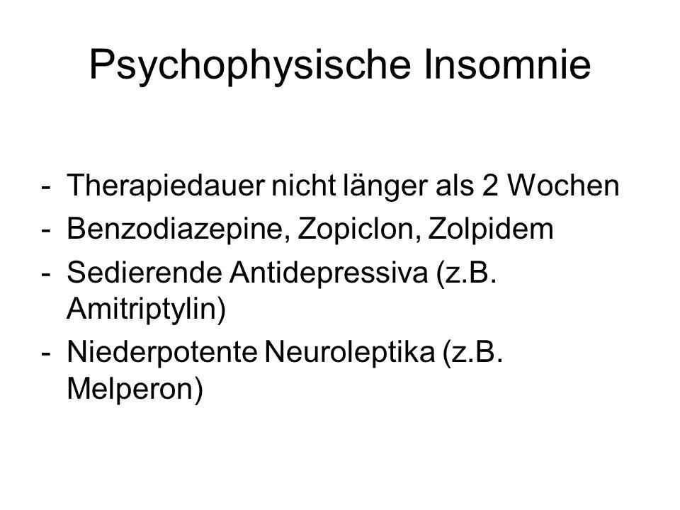 Psychophysische Insomnie -Therapiedauer nicht länger als 2 Wochen -Benzodiazepine, Zopiclon, Zolpidem -Sedierende Antidepressiva (z.B. Amitriptylin) -