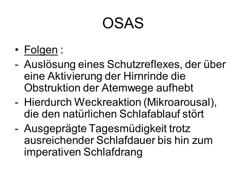 OSAS -Verminderung bis völliger Verlust der Tiefschlafphasen -Konzentrationsstörungen -Verminderte Leistungsfähigkeit -Erhebliche Unfallgefahr (Alleinunfälle, menschliches Versagen) -Bluthochdruck -Herzrhythmusstörungen