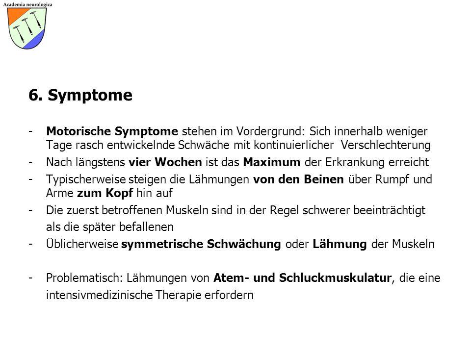 6. Symptome -Motorische Symptome stehen im Vordergrund: Sich innerhalb weniger Tage rasch entwickelnde Schwäche mit kontinuierlicher Verschlechterung