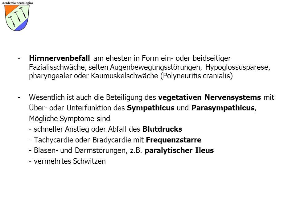 -Hirnnervenbefall am ehesten in Form ein- oder beidseitiger Fazialisschwäche, selten Augenbewegungsstörungen, Hypoglossusparese, pharyngealer oder Kau