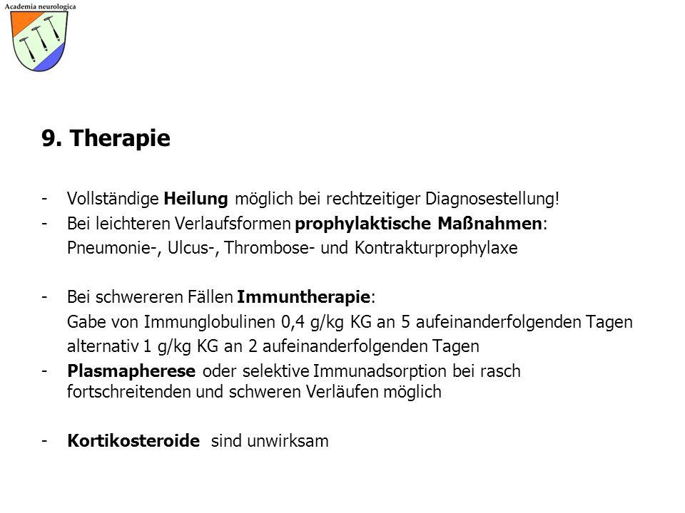 9. Therapie -Vollständige Heilung möglich bei rechtzeitiger Diagnosestellung! -Bei leichteren Verlaufsformen prophylaktische Maßnahmen: Pneumonie-, Ul