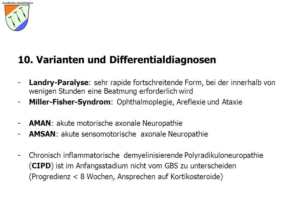 10. Varianten und Differentialdiagnosen -Landry-Paralyse: sehr rapide fortschreitende Form, bei der innerhalb von wenigen Stunden eine Beatmung erford