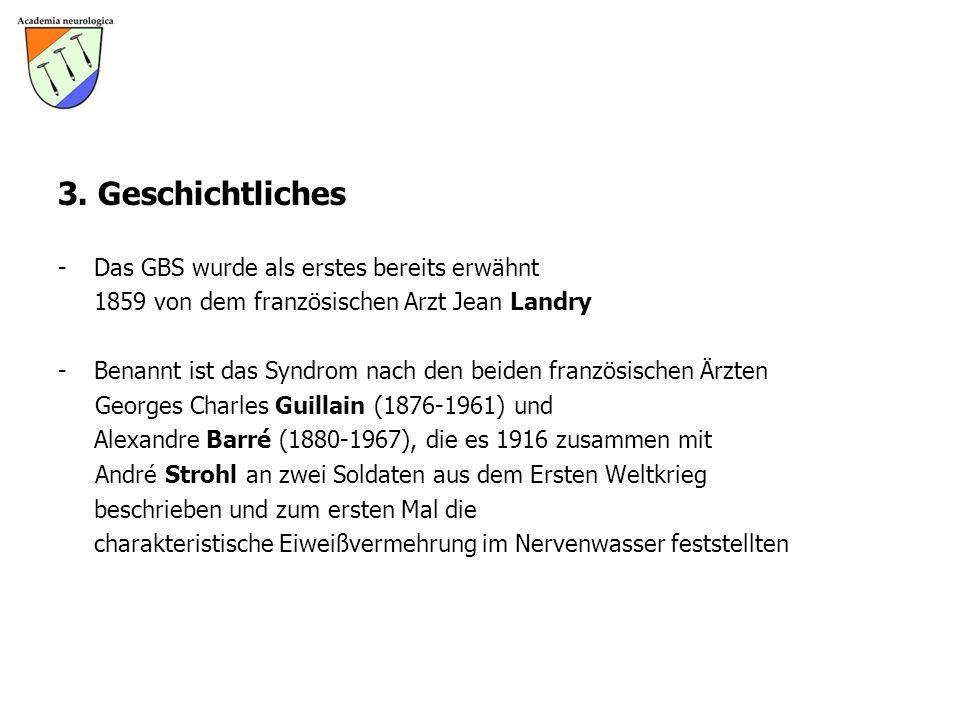 3. Geschichtliches - Das GBS wurde als erstes bereits erwähnt 1859 von dem französischen Arzt Jean Landry -Benannt ist das Syndrom nach den beiden fra