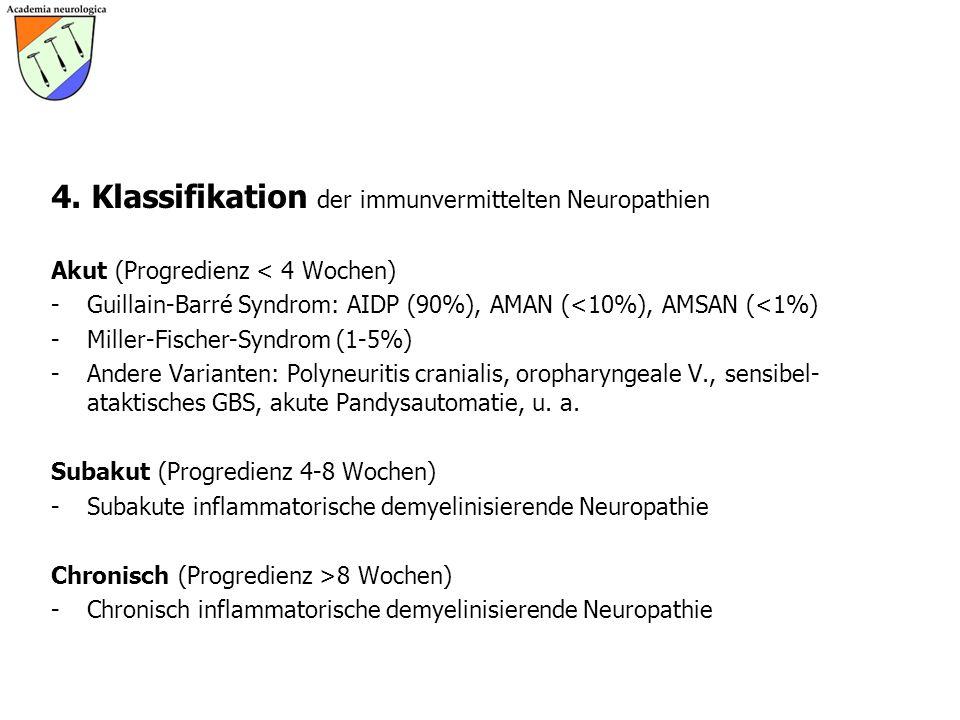 4. Klassifikation der immunvermittelten Neuropathien Akut (Progredienz < 4 Wochen) -Guillain-Barré Syndrom: AIDP (90%), AMAN (<10%), AMSAN (<1%) -Mill