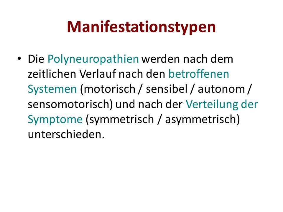 Manifestationstypen Die Polyneuropathien werden nach dem zeitlichen Verlauf nach den betroffenen Systemen (motorisch / sensibel / autonom / sensomotor