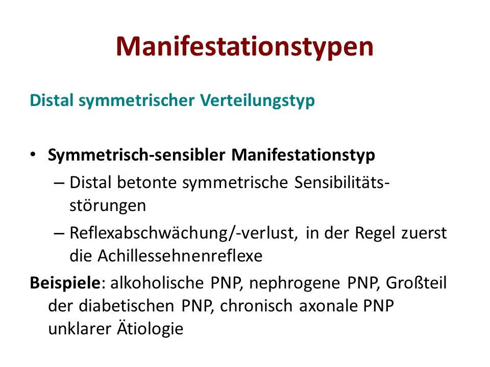 Manifestationstypen Distal symmetrischer Verteilungstyp Symmetrisch-sensibler Manifestationstyp – Distal betonte symmetrische Sensibilitäts- störungen