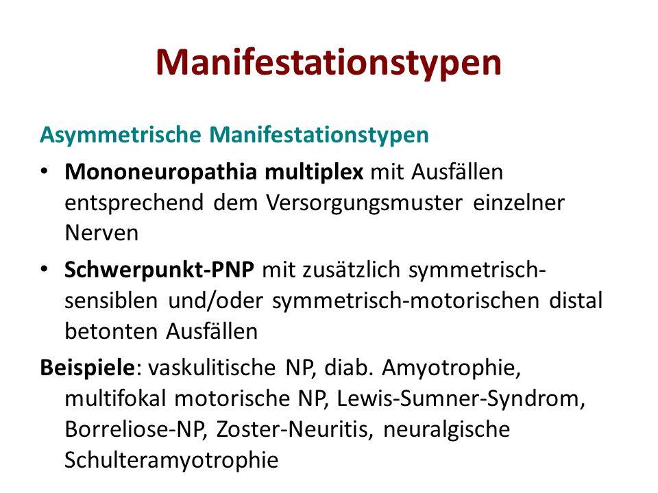 Manifestationstypen Asymmetrische Manifestationstypen Mononeuropathia multiplex mit Ausfällen entsprechend dem Versorgungsmuster einzelner Nerven Schw
