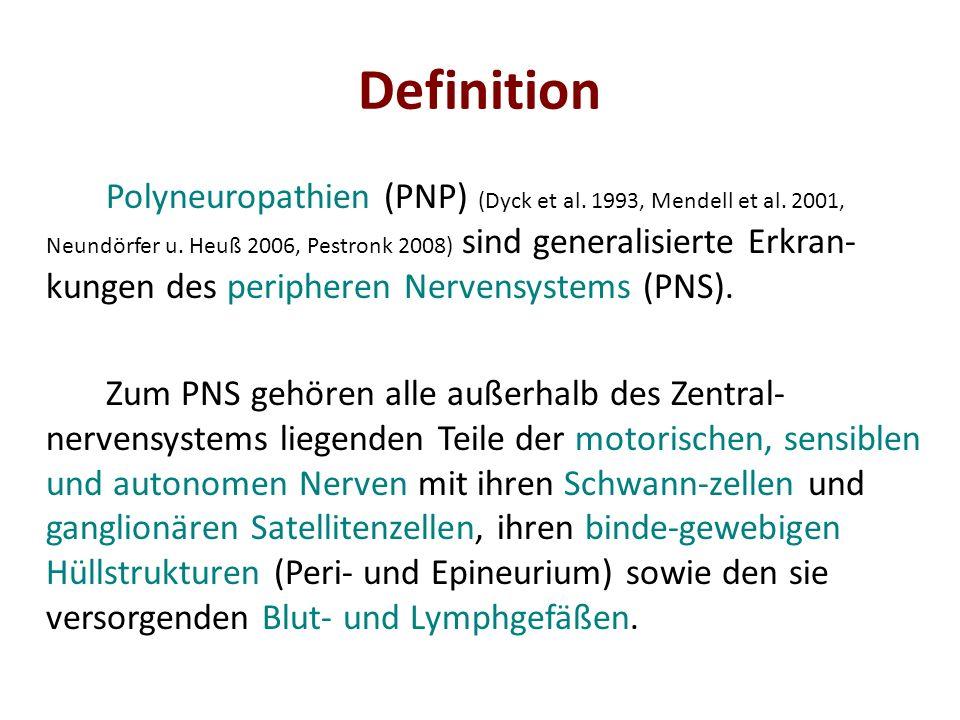 Manifestationstypen Distal symmetrischer Verteilungstyp Symmetrisch-sensibler Manifestationstyp – Distal betonte symmetrische Sensibilitäts- störungen – Reflexabschwächung/-verlust, in der Regel zuerst die Achillessehnenreflexe Beispiele: alkoholische PNP, nephrogene PNP, Großteil der diabetischen PNP, chronisch axonale PNP unklarer Ätiologie