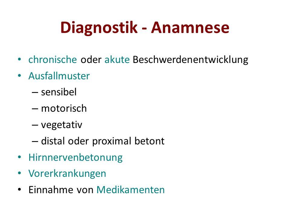 Diagnostik - Anamnese chronische oder akute Beschwerdenentwicklung Ausfallmuster – sensibel – motorisch – vegetativ – distal oder proximal betont Hirn