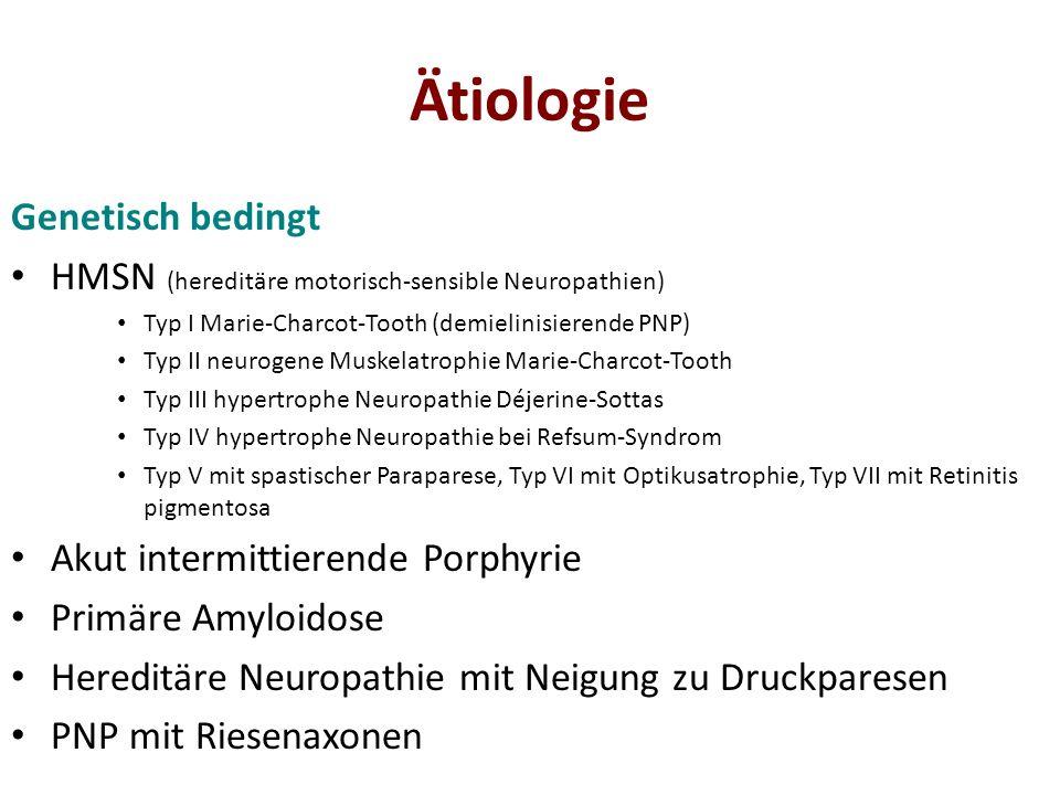 Manifestationstypen Subtyp Small-Fiber-Neuropathie Hierzu entwickelt sich ein Teil der PNP mit symmetrisch-sensiblem Manifestationstyp Distal symmetrische PNP mit ausgeprägten autonomen Symptomen – Sensible oder sensomotorische PNP mit ausgeprägten autonomen Störungen Beispiele: Amyloid-PNP, diabetische autonome Neuropathie, hereditäre sensible und autonome Neuropathie (HSAN)