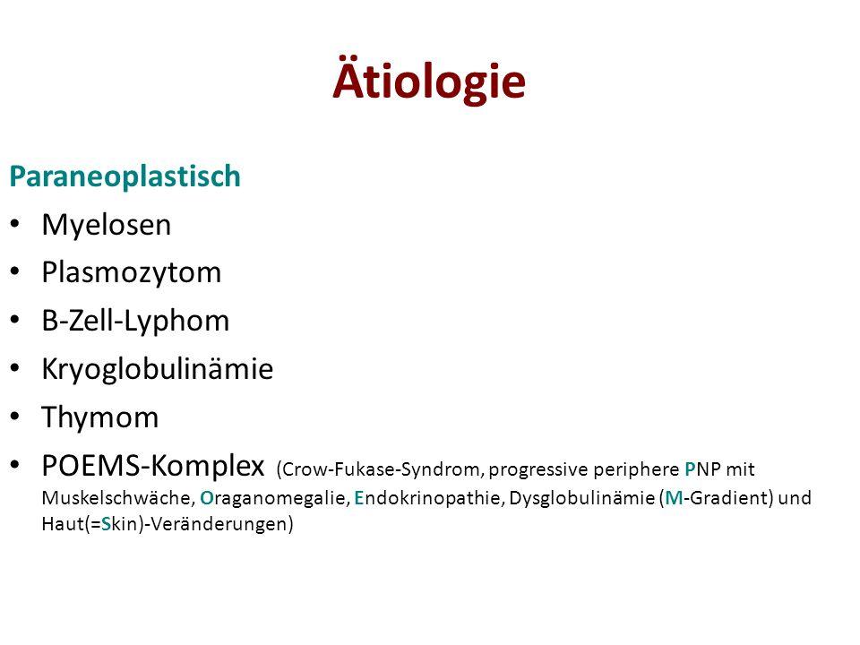 Pathologie Grundsätzlich: Degeneration des Axon (axonale-PNP) Veränderung der Schwann-Myelinscheide (Markscheidenbefall/demyelinisierende-PNP) Histologisch: Axondegeneration durch toxische Stoffwechselprodukte (PNP bei Stoffwechselstörungen, Diabetes mellitus, Alkohol, toxisch, paraneoplastisch, vaskulär) Demyelinisierung (PNP bei Polyradikulitis, HMSN I)