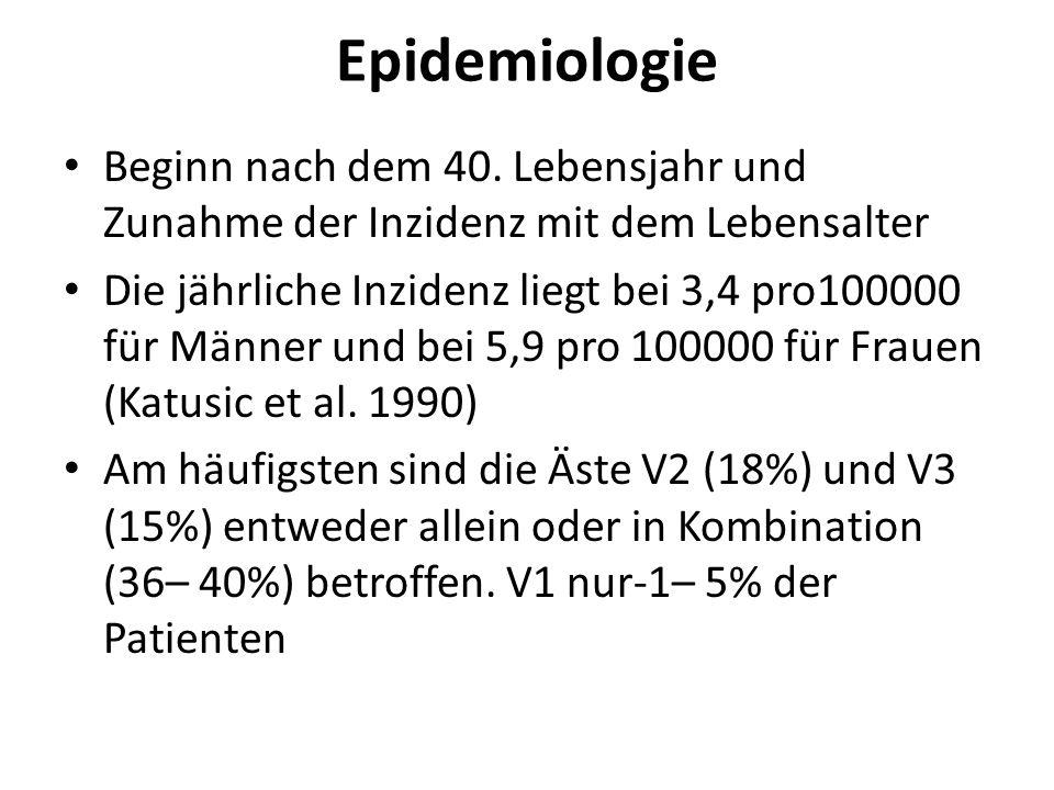 Epidemiologie Beginn nach dem 40. Lebensjahr und Zunahme der Inzidenz mit dem Lebensalter Die jährliche Inzidenz liegt bei 3,4 pro100000 für Männer un